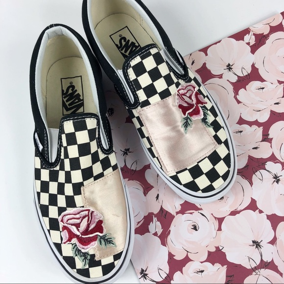 07df448ff4 Vans Satin rose patchwork checker slip on classic